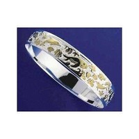 SILVER 925 HAWAIIAN BANGLE BRACELET SEALIFE SMOOTH EDGE 10MM 2 TONE