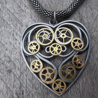 Clockpunk Victorian-Style Pendant Necklace - Brushed Aluminum Open Work Heart Pendant with Gears on Antiqued Silver Modified Box Chain
