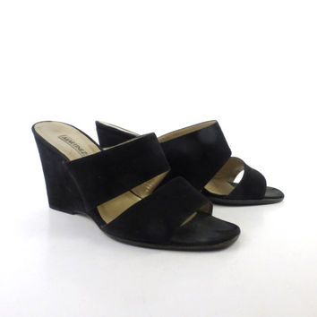 Martinez Valero Heels Vintage 1990s Black Suede Leather Wedges Women's size 38