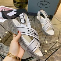 Kuyou Gx19712 Prada Women's Transparent Soles White Leather Sandals