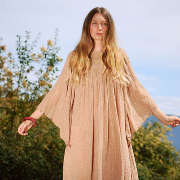 70s Grecian Gauze Dress, Boho Cotton Caftan Dress, Tan Angel Sleeve Lurex Dress, Hippie Crochet Dress, Summer Festival Dress Mini Tent Dress