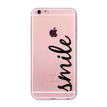 light pink large word smile Phone Case for iPhone 7 6 6s