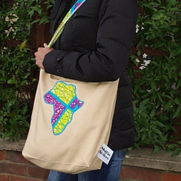 African wax print market bag cotton tote handmade