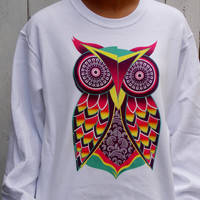 Neon Own Sweatshirt. Geometric Owl Shirt. Unisex Adult Crew Neck Sweatshirt.