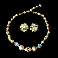 Alice Caviness Blue  Green and Pink Glass Crystal and Gold Bead Necklace and Earrings Set Signed