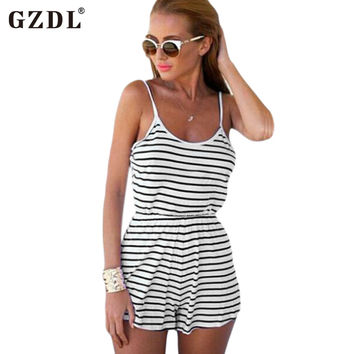Summer Sexy Women Spaghetti Strap Backless Striped Print Casual Tunic Beach Jumpsuit Romper Overalls