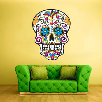 Full Color Wall Decal Mural Sticker Decor Art Beautyfull Cute Sugar Skull Bedroom Curly modern fashion (col299)