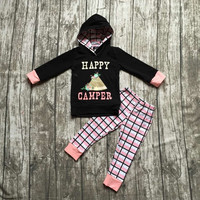 kids Fall boutique clothes baby girls hoodie clothing girls happy camper clothing girls black hoodie with checks pant