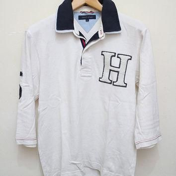 Vintage TOMMY HILFIGER Polo Shirt White Color Size S