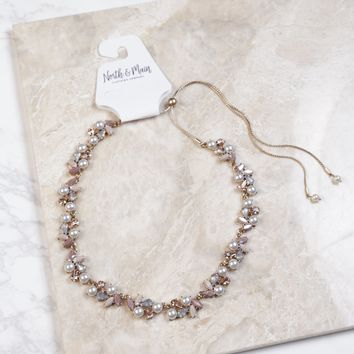 Pearl Detail Statement Necklace, Blush/Gold