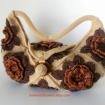 Brown beige flower crochet hand bag, crochet tote, shoulder bag, crochet purse.Handmade