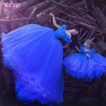 Royal Blue Cinderella Ball Gowns Mother of the Bride Dresses Formal Evening Gown Dress Organza Lace Up Custom Made