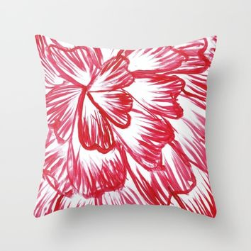 Red and White Dahlia Throw Pillow by Lindsay