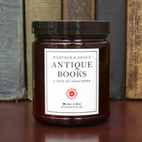 ANTIQUE BOOKS Candle 8oz, Book Scented Candle, Werther & Gray, Rust Color, Soy Blend, Vanilla Paper Leather Fragrance, Library Candle