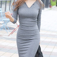 Gray V-Neck Long Sleeve Mini Dress