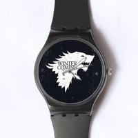 Custom Game of Thrones Watches Classic Black Plastic Watch WT-0815