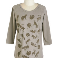ModCloth Critters Mid-length 3 Friends Fur Life Top