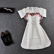White Mesh Short Sleeves Embroidered Curved Hem  A-Line Mini  Dress