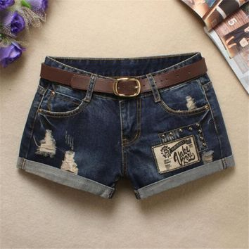 high waist jeans shorts hole Cat rivet Patch Curling Letter Thin ripped jeans