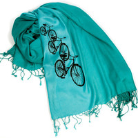 """Bicycle scarf. """"Triple Cruiser,"""" pashmina. Black bicycle print on a teal & turquoise ombre scarf. For women or men.."""