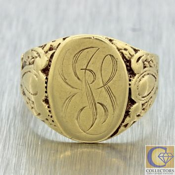 1880s Mens Antique Victorian 14k Solid Yellow Gold Monogram Engraved Signet Ring