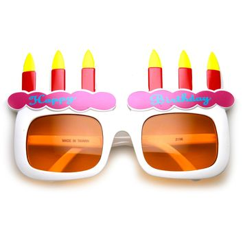 Happy Birthday Cake and Candles Party Favor Celebration Sunglasses
