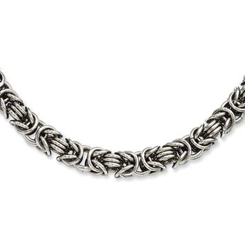 Men's Stainless Steel 7mm Byzantine Link Chain Necklace 18 Inch