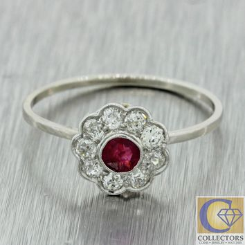 1920s Antique Art Deco Estate 14k White Gold .15ct Ruby Diamond Conversion Ring