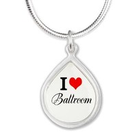 I Heart Ballroom Silver Teardrop Necklace