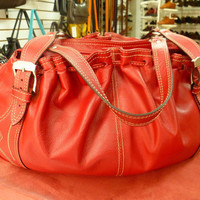 Natural Leather Bag Purse for Women, Red Modern and Elegant Design Custom Tote