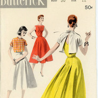 Butterick 7755 Misses 1950s Sundress & Jacket Pattern Low V Back Flared Skirt and Back Tie Bolero Womens Vintage Sewing Pattern Bust 30