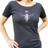 Queen Bee Women's Graphic Tee Shirt-Organic Cotton Hand Screen Printed-Gift for Women-Charcoal/White Ink