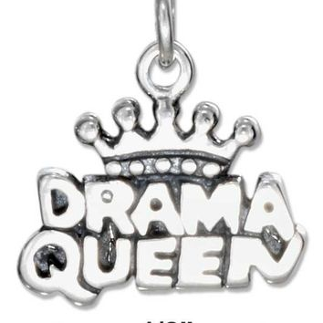 """Sterling Silver """"drama Queen"""" Charm"""