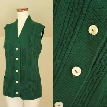 Vintage - 60s/70s - Forest Green - Cable Knit - Button Up - Sleeveless - Long - Cardigan Sweater Vest