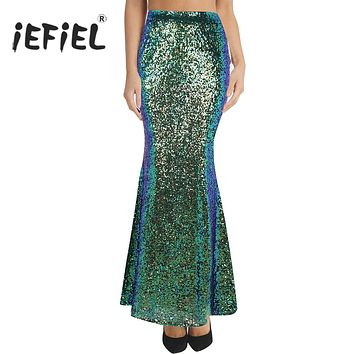c267519a762e Women Ladies Fashion Long Maxi Shiny Sequin Mermaid Skirt Slim F
