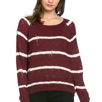 Round Neck Striped Sweaters Burgundy