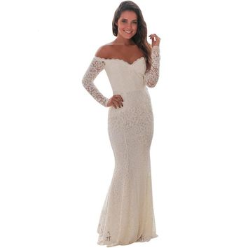 Spring 2019 Woman Party Long Sleeve Dress Sexy White Crochet Lace Off Shoulder Maxi Dress Runway Vestido Longo