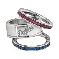 LogoArt Los Angeles Dodgers Stainless Steel Crystal Stack Ring Set (Silver)