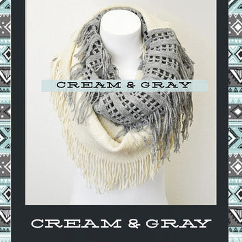 Knit Infinity Scarf: Mocha, Cream, and Gray, Fringe Infinity Scarf, Bohemian Indie Vintage Style Loop Scarf, Aztec Scarf, Cute Womens Scarf