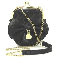 Betsey Johnson Bow Mini Black Crossbody Bag