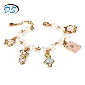 Sweet Jewelry  Alice in Wonderland Bracelets Wristbands Link Chain Bangles Women Bracelet