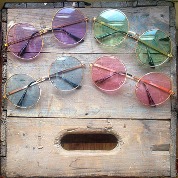 15% Off Oversized Round Sunglasses Vintage Pastel Hippie Circle Glasses - Janis