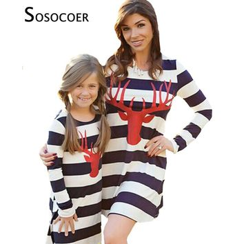 SOSOCOER Mother Daughter Dresses Clothes  Deer Matching Mom Daughter Dress Long Sleeve Stripe Dress Family Clothing