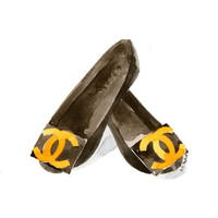 Chanel flat shoes- Watercolor illustration