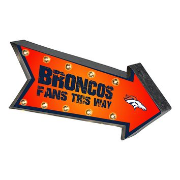 Denver Broncos Sign Marquee Style Light Up Arrow Design