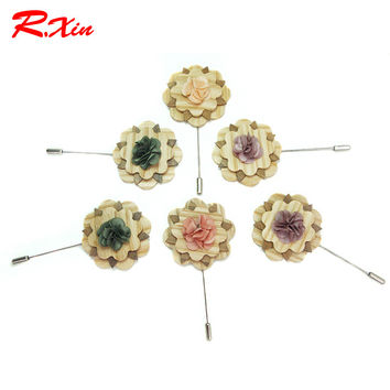 New 2016 Fashion Wooden Brooches Mens Handmade Pins Wedding party Men's Suits Flower Wood Brooch Corsage Gifts 4 Color For Men