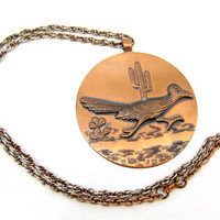 RoadRunner Solid Copper Bell Trading Post Copper Pendant Necklace Large Statement Native American Indian Vintage Jewelry Mid Century Signed