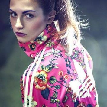 ADIDAS Women Fashion Flower Print Sport Running Cardigan Jacket Coat