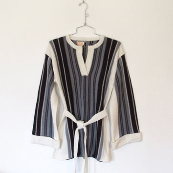 Vintage 1970s Boho / Hippie Black, Grey & Ivory Striped Belted Tunic Sweater / Knit Pullover