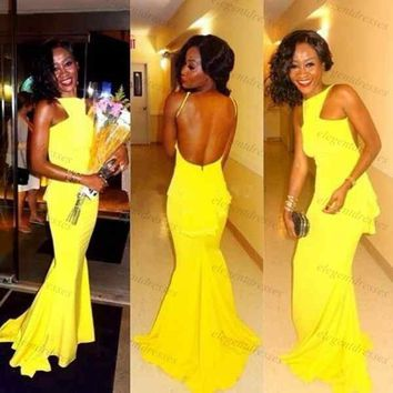 Unique Design Long Yellow Prom Dresses Halter Backless Mermaid Prom Dress Vestidos Para Festa